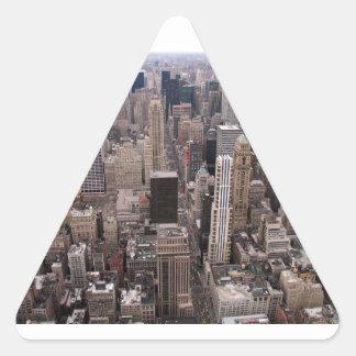Horizonte de Nueva York Pegatina Triangular
