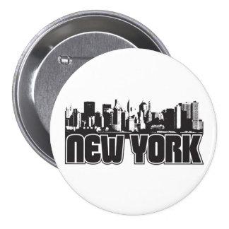 Horizonte de Nueva York Pin Redondo De 3 Pulgadas