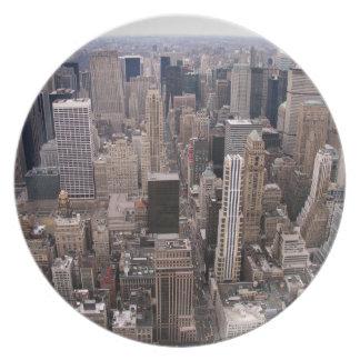 Horizonte de Nueva York Plato Para Fiesta