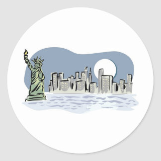Horizonte de Nueva York por claro de luna Pegatina Redonda