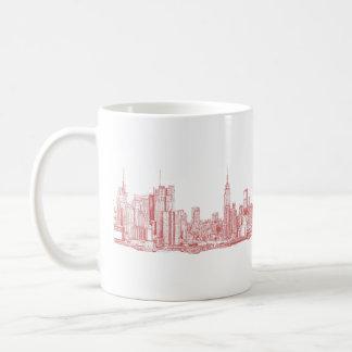 Horizonte de Nueva York rosado Taza De Café