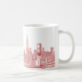 Horizonte de Nueva York rosado Taza