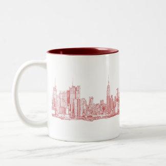 Horizonte de Nueva York rosado Taza De Café De Dos Colores