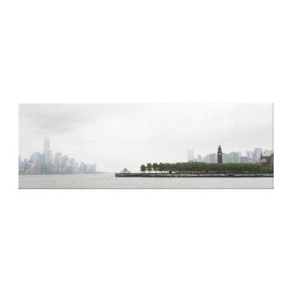 Horizonte de Nueva York y de New Jersey en la nieb Lienzo Envuelto Para Galerías