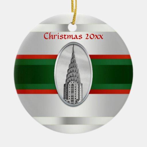 Horizonte de NYC: Chrysler que construye Navidad # Ornamentos De Navidad