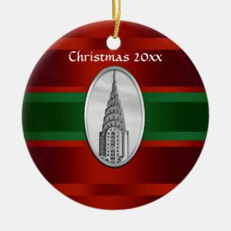 Horizonte de NYC: Chrysler que construye Navidad Adorno Redondo De Cerámica