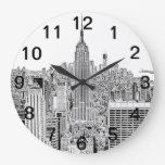 Horizonte de NYC - Empire State Building, mirada g Reloj De Pared