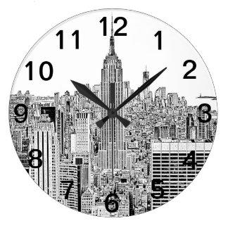 Horizonte de NYC - Empire State Building, mirada g Reloj De Pared