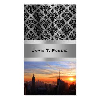Horizonte de NYC en la puesta del sol, azul, oro,  Plantillas De Tarjetas Personales