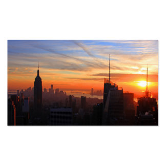 Horizonte de NYC en la puesta del sol, azul, oro,  Tarjetas De Visita
