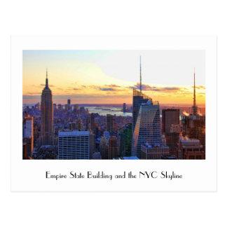 Horizonte de NYC: ESB, Bank of America, 4 veces Tarjetas Postales