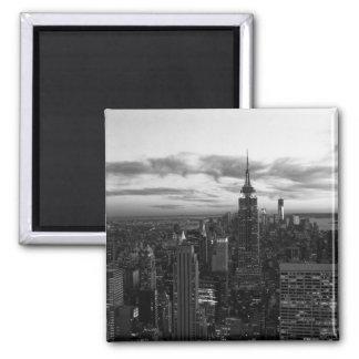 Horizonte de NYC, ESB WTC en la puesta del sol BW Iman De Frigorífico
