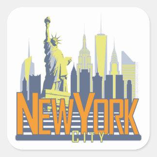 Horizonte de NYC intrépido Pegatina Cuadrada