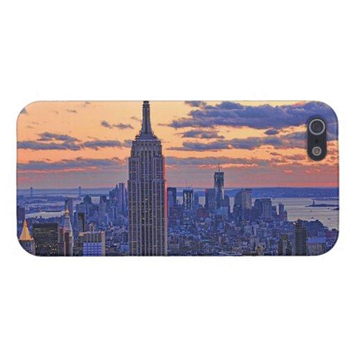 Horizonte de NYC momentos antes de la puesta del iPhone 5 Funda