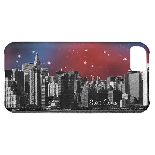 Horizonte de NYC negro y blanco, cielo estrellado Funda Para iPhone 5C
