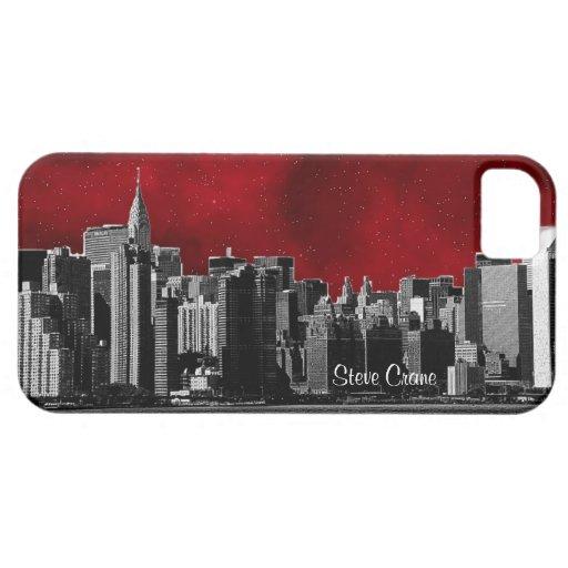 Horizonte de NYC, negro y blanco, cielo estrellado iPhone 5 Cárcasa