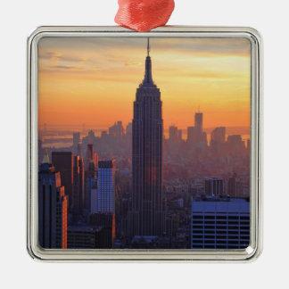Horizonte de NYC Puesta del sol anaranjada 2 del Adorno