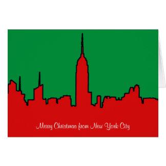 Horizonte de NYC: Silueta del navidad del ESB Tarjeta De Felicitación