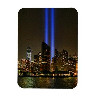 Horizonte de NYC Tributo de WTC 9 11 en la luz 20 Imanes Rectangulares