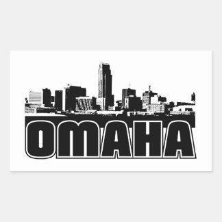 Horizonte de Omaha Rectangular Pegatina