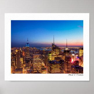 Horizonte de oro de New York City - pequeño Poster