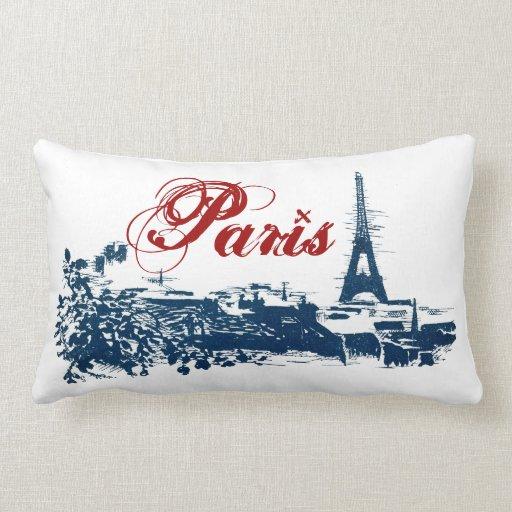 Horizonte de París con la almohada del personaliza