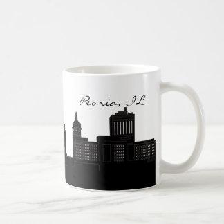 Horizonte de Peoria blanco y negro, Illinois Taza De Café