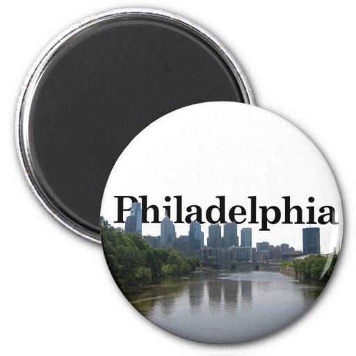 Horizonte de Philadelphia - con Phil. en el backgr Imán Para Frigorífico