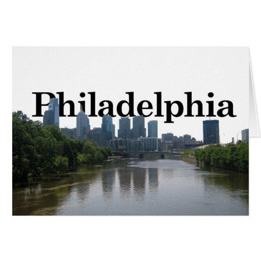 Horizonte de Philadelphia - con Phil. en el backgr Tarjeta De Felicitación
