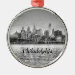 Horizonte de Philadelphia en blanco y negro Adorno Navideño Redondo De Metal
