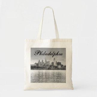Horizonte de Philadelphia en blanco y negro Bolsa Tela Barata