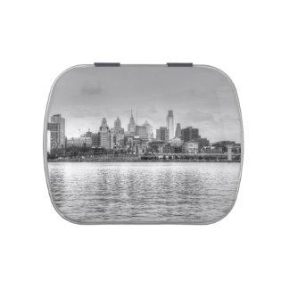 Horizonte de Philadelphia en blanco y negro Frascos De Caramelos