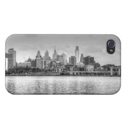 Horizonte de Philadelphia en blanco y negro iPhone 4/4S Funda