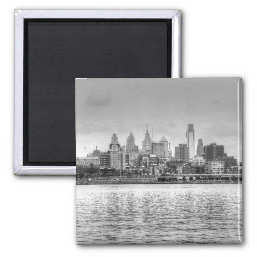 Horizonte de Philadelphia en blanco y negro Imán De Nevera