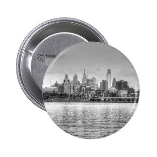 Horizonte de Philadelphia en blanco y negro Pin