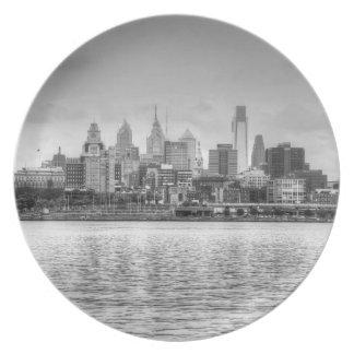 Horizonte de Philadelphia en blanco y negro Platos