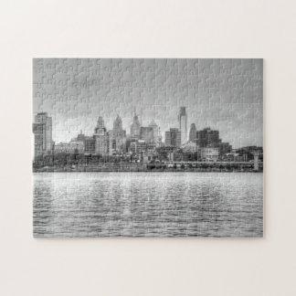 Horizonte de Philadelphia en blanco y negro Rompecabeza Con Fotos