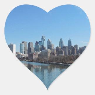 Horizonte de Philadelphia Calcomanía De Corazón