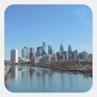 Horizonte de Philadelphia Calcomanias Cuadradas