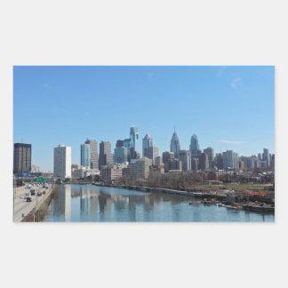 Horizonte de Philadelphia Rectangular Pegatinas