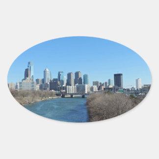 Horizonte de Philadelphia Pegatinas De Oval