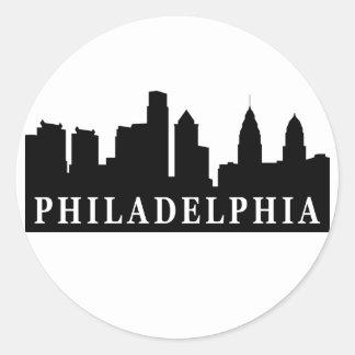 Horizonte de Philadelphia Etiqueta Redonda