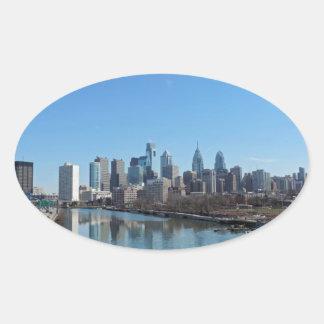 Horizonte de Philadelphia Pegatina Ovalada
