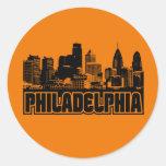 Horizonte de Philadelphia Pegatina Redonda