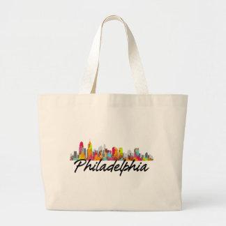 Horizonte de Philadelphia Pennsylvania Bolsa De Tela Grande