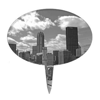Horizonte de Pittsburgh blanco y negro Figura Para Tarta