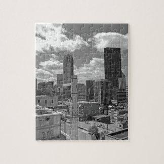 Horizonte de Pittsburgh blanco y negro Puzzle