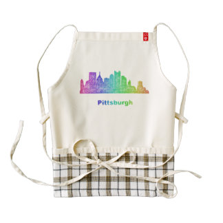 Horizonte de Pittsburgh del arco iris Delantal Zazzle HEART
