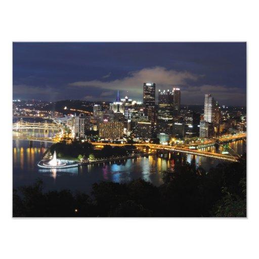 Horizonte de Pittsburgh en la impresión de la oscu Cojinete