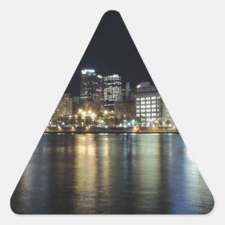 Horizonte de Pittsburgh en la noche del parque de Calcomanías Triangulos